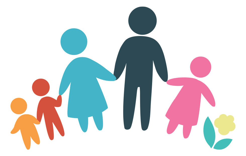 Illustration of a family with parents and three children
